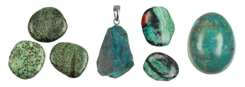 Carved Stone Jewellery Gemstone Necklace Chrysocolla Tumblestone Pendant Drilled Tumblestone