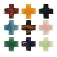 25 Crosses drilled mixed stones, 3cm