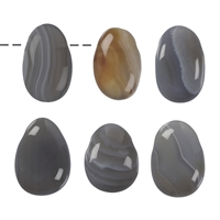Tumbled Stone Agate (grey) drilled
