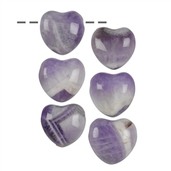 Heart Amethyst drilled, 2,5cm (6 pc/VE)