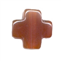 Cross Carnelian (heated) drilled, 15mm