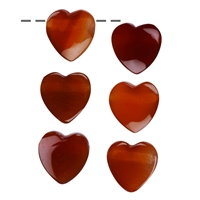 Heart Carnelian (heated) drilled, 15mm