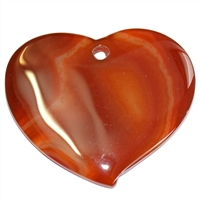 Swing heart, Carnelian (heated), big, front drilled