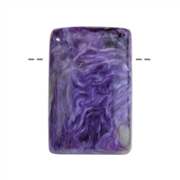 Cabochon Rectangle Charoite drilled, appr. 2,0cm