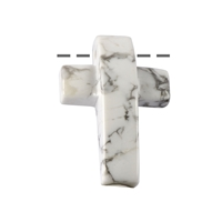 Cross bevelled Magnesite drilled, 3 x 4,5cm