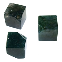 Cube Moss Agate A diagonal drilled, 12mm