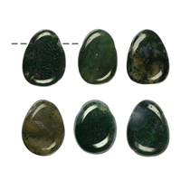 Tumbled Stone Moss Agate (green) drilled