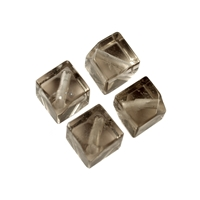 Cube Smokey Quartz diagonal drilled, 10mm