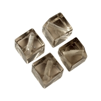 Cube Smokey Quartz diagonal drilled, 12mm