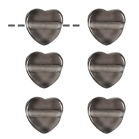 Heart Smoky Quarz drilled, 15mm