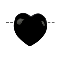 Heart Tourmaline black (stab.) drilled, 3,5cm