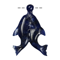 Pair of Dolphins with Ball Sodalite, drilled, 7cm