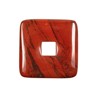 Donut square Jasper (red), 40mm