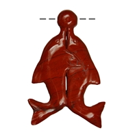 Pair of Dolphins with Ball Jasper (red), drilled, 7cm