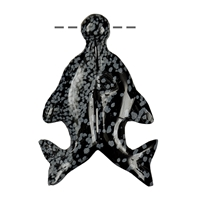 Pair of Dolphins with Ball Obsidan (Snowflake), drilled, 7cm