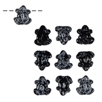Frog Obsidian (Snowflake) drilled, appr. 2,5cm (10 pc/VE)