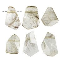 Freeform Rutilated Quartz faceted drilled, 2,5 - 3,5cm