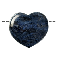 Heart puffy, Dumortierite, drilled, 45x45mm