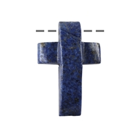 Cross bevelled Dumortierite drilled, 3 x 4,5cm