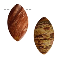 Cabochon Navette Petrified Wood drilled, appr. 5,5cm