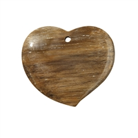 Swing Heart petrified Wood frontdrilled, 5,0cm
