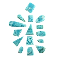 Cabochons Larimar drilled, mixed shapes (0,25 kg/VE)