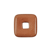 Donut Square Goldstone brown (synt.), 30mm