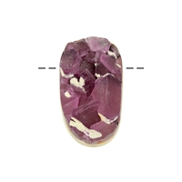 Oval Fluorite (purple, on Quartz) drilled, 4,0 - 5,0cm