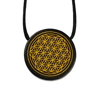 "Tile drilled Shungite with gold coloured Engraving ""Flower of Life"""