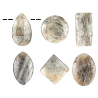 Cabochon Set Moonstone brown drilled (6 pc/VE)
