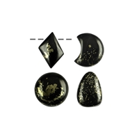 Cabochon Freeform Apache Gold drilled, 2,0 - 3,0cm