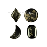 Cabochon Freeform Apache Gold drilled, 3,0 - 4,0cm
