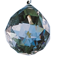 Lightcrystal Sphere (faceted Rock Crystal), appr. 28mm, with Nylon Thread