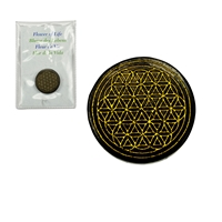 "Slab Shungite with gold coloured engraving ""Flower of Life"", 35mm"