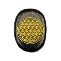 "Disc Freeform Shungite with gold coloured engraving ""Flower of Life"", appr. 40 x30 x 6mm"