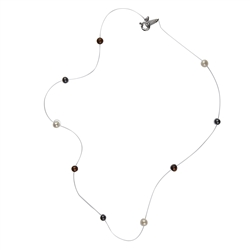 Collier, Pearl (dyed), transparent string, 40cm