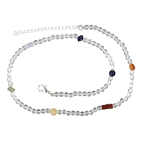 "Chakra Collier ""Crystal"", 42cm (plus 6cm extension chain)"
