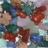 Bail Pendant Animal 2cm, mixed stones, 50 pc/sales unit