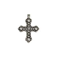 "Pendant ""Cross"" with Topaz and Pearl, 4,0cm"