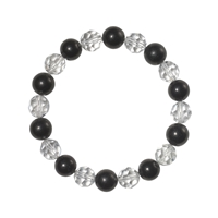 Bracelets, Shungite/Rock Crystal faceted, 08mm Beads