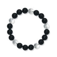 Bracelet, Onyx (dyed)/Rock Crystal, 10mm Beads