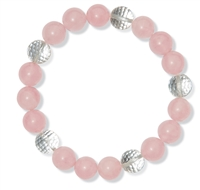Braclet, Rose Quartz/Rock Crystal, 10mm Beads