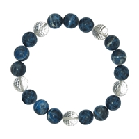 Bracelet Beads, Sodalite/Rock Crystal, 10mm