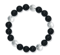 Braclet Beads, Onyx (dyed)/Rock Crystal, 14mm