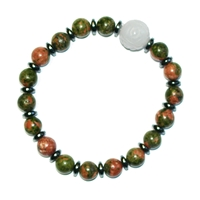 Bracelet, Unakite with Jade Bead and hematine rings