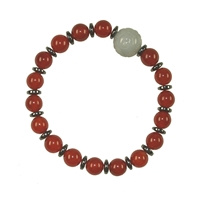 Bracelet, Carnelian (dyed) with Jade Bead and hematine rings