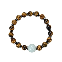 Bracelet, Tiger's Eye, 08mm Beads, with Jade Bead and Hematine Rings