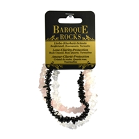 "Bracelet Baroque Combi Rock Crystal, Rose Quartz, Black Tourmaline (stab.) ""Love-Clarity-Protection"", 3 strings"