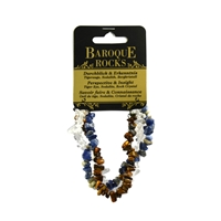 "Bracelet Baroque Combi Tiger's Eye, Sodalite, Rock Crystal ""Perspective & Insight"", 3 strings"