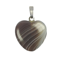 Pendant Heart Agate, Silver loop, 20mm